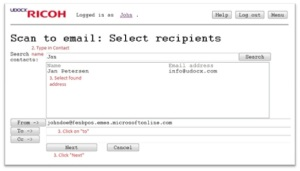 Scan to email select recipients